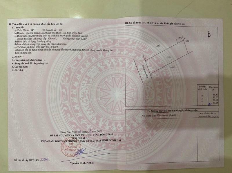 Ảnh của Chính chủ bán lô đất vị trí đẹp phường trảng dài thành phố biên hòa đồng nai 320m2