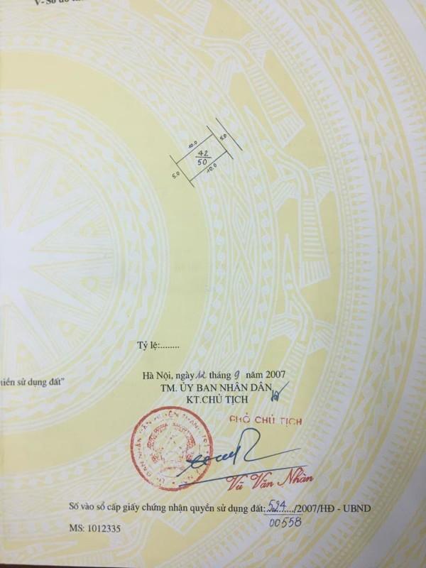 Ảnh của Bán đất triều khúc, thanh xuân, dt 50m2 , mt 5m, sổ vuông đét, 2 mặt ngõ ô tô, giá chỉ 3.5 tỷ. lh 0966456918.
