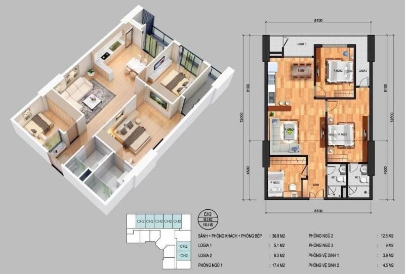 Picture of 19179: bán căn hộ chung cư cao cấp 96 m2 -dự án golden park- phạm văn bạch- cầu giấy- bể bơi- 5 tầng tmdv-an sinh đỉnh